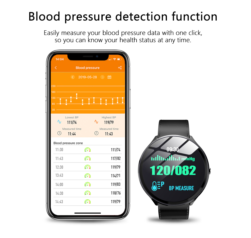 Kospet V12W Heart Rate / Blood Oxygen Monitoring / Breathing Light / Tempered Glass Leather Smart Watch- Black
