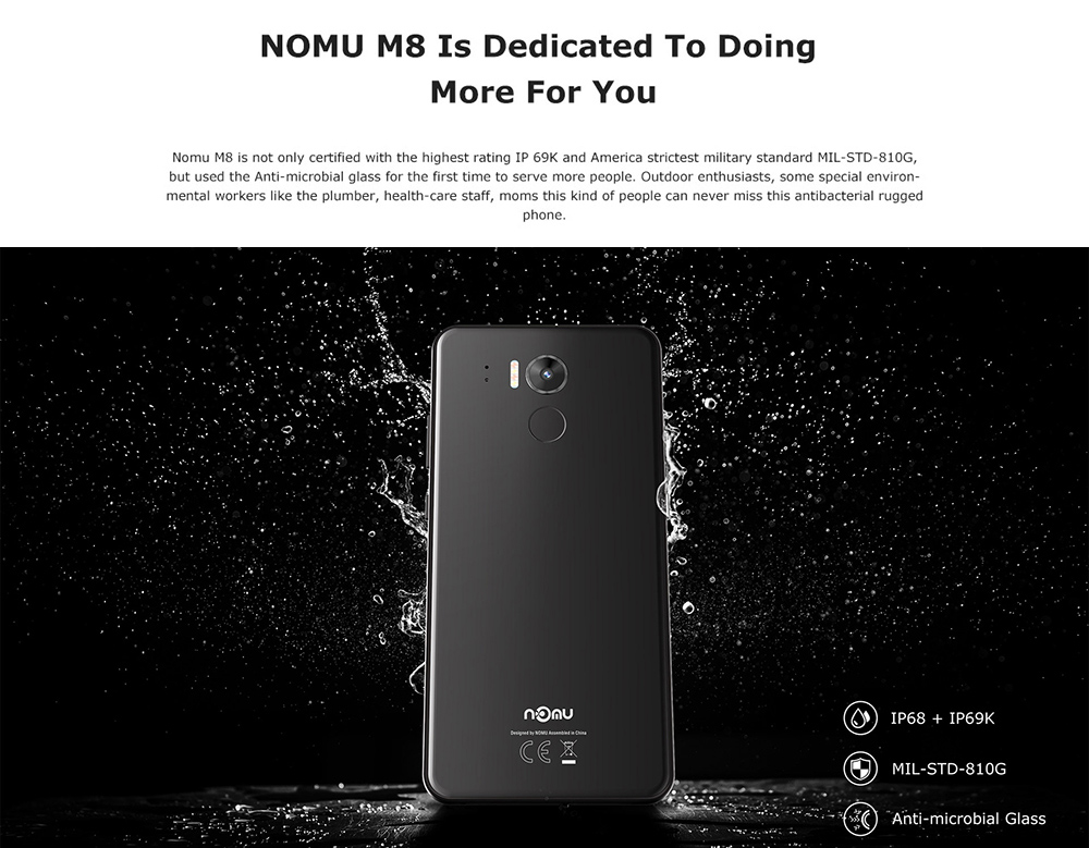 NOMU M8 4G Smartphone 5.2 inch Android 7.0 MTK6750T Octa Core 1.5GHz 4GB RAM 64GB ROM 21.0MP Rear Camera 2950mAh Battery- Gray