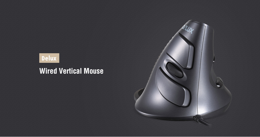 Delux 618XU Vertical Wired Mouse AVAGO Optical Sensor 3 DPI - Black