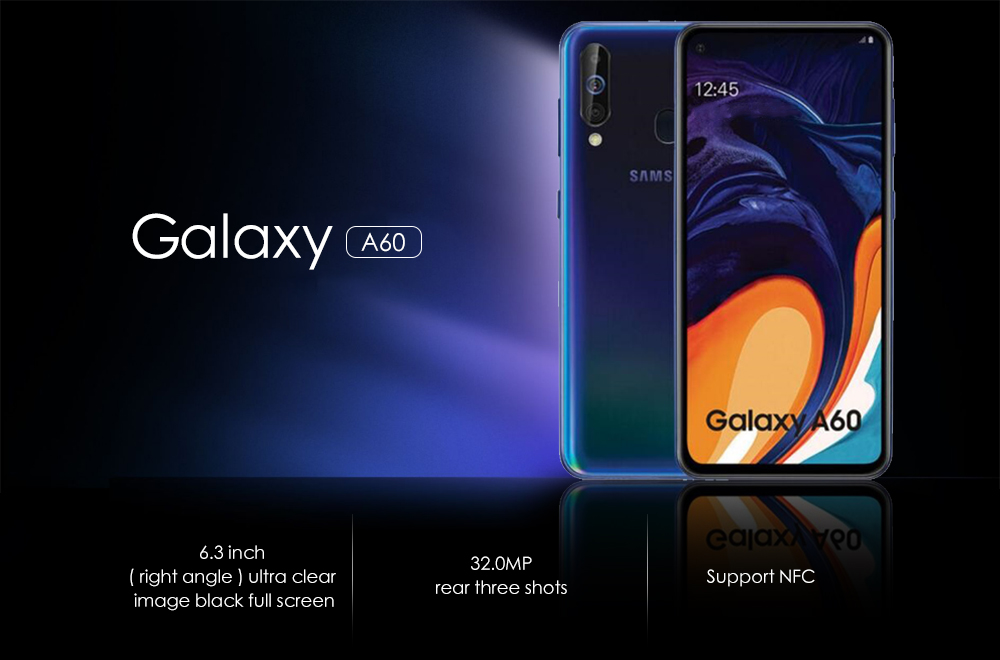 Samsung Galaxy A60 4G Phablet 6.3 inch Android 9.0 Snapdragon 675 Octa Core 2GHz 6GB RAM 64GB ROM 32.0MP + 5.0MP + 8.0MP Rear Camera 3500mAh Battery- Black