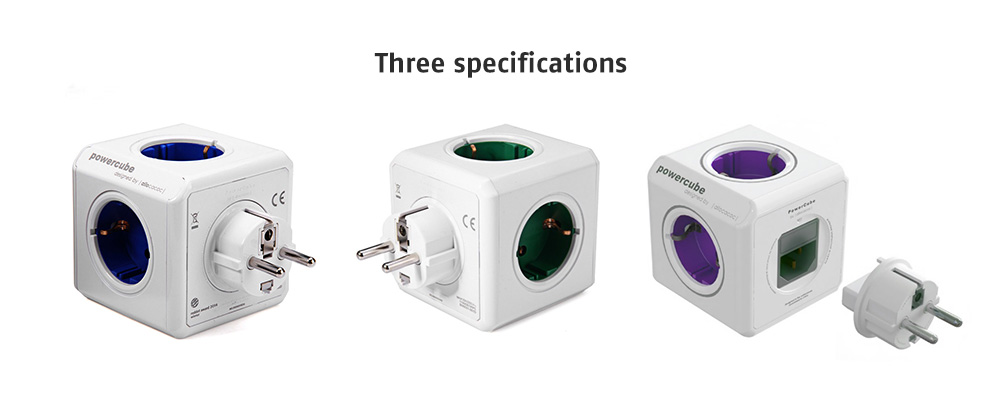 gocomma 1810 Cube Socket 4 EU Plug + 2 USB Multi-port Travel Charger 2300W International Charger- Purple