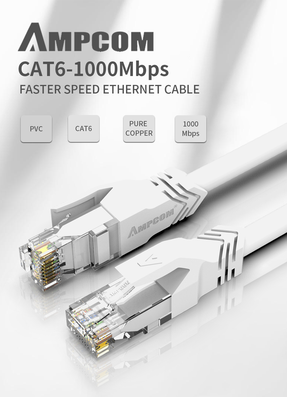 AMPCOM CAT6 Network Patch Lan Cable Cord 1000 Mbps Gold-plated Plug- Gray Cloud 0.5M