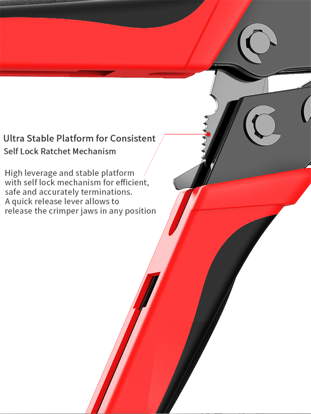 AMPCOM CAT7 Crimping Tool for Solderless Crimp Terminals- Lava Red