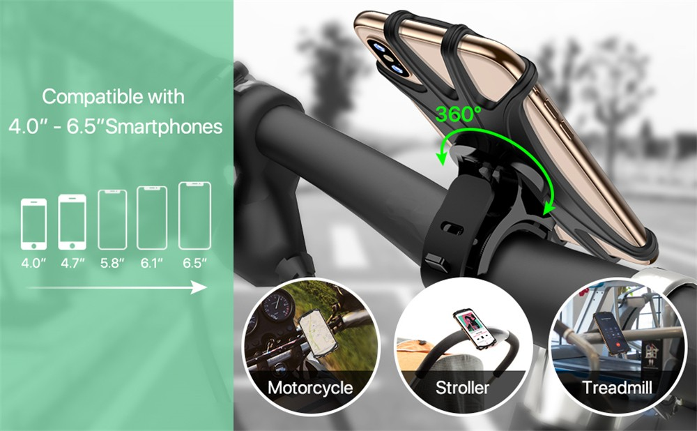 MP - 8159 360 Degrees Rotatable Adjustable Silicone Bicycle Phone Mount Compatible with iPhone Xs MAX / X 4.5