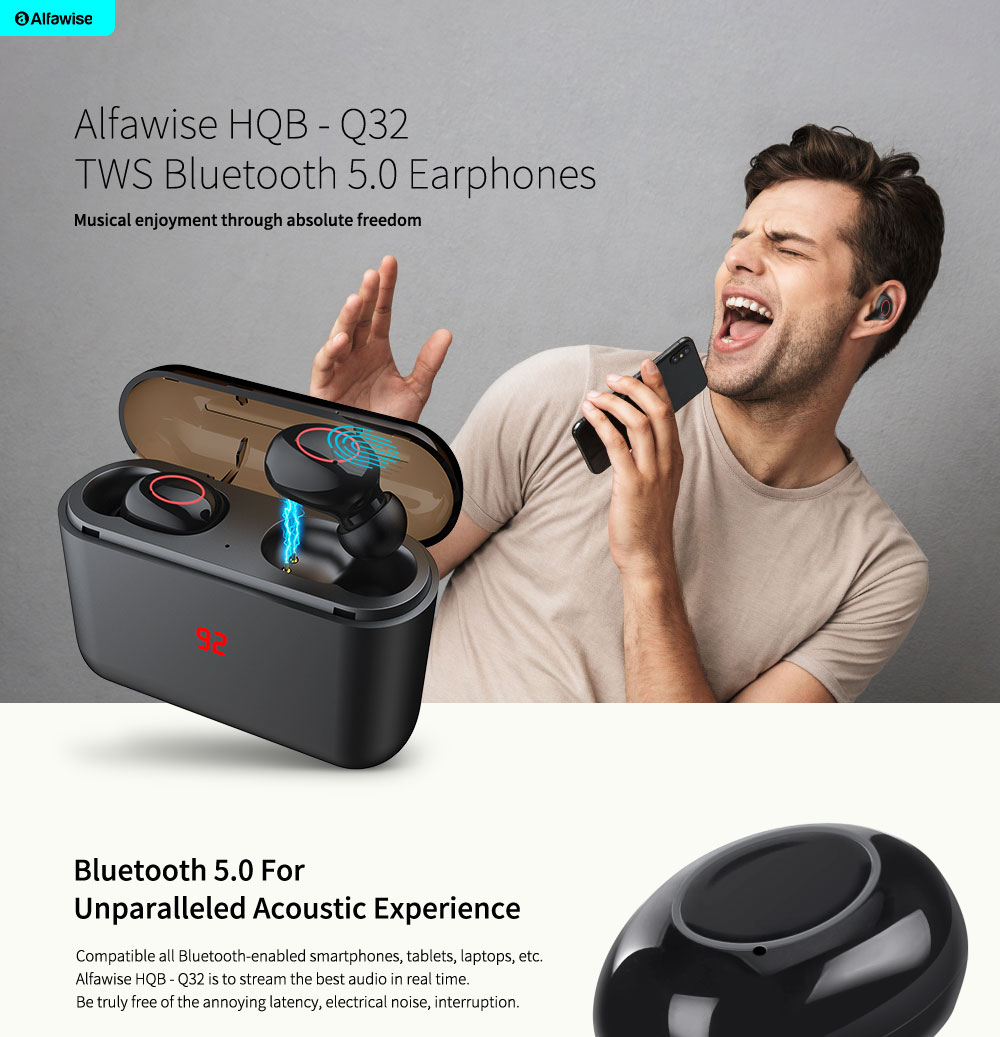 Alfawise HQB - Q32 TWS Binaural Bluetooth Earphones Mini Earbuds- Black Touch Control