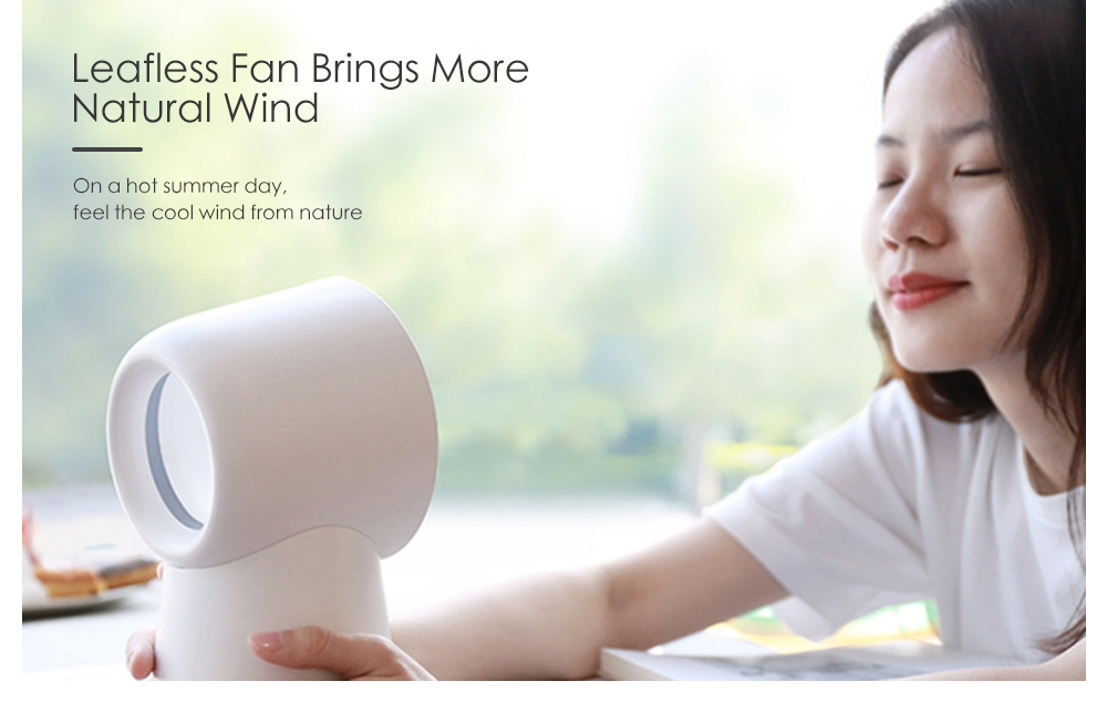 3 in 1 Mini Bladeless USB Desktop Fan Humidifier LED Light from Xiaomi youpin- White