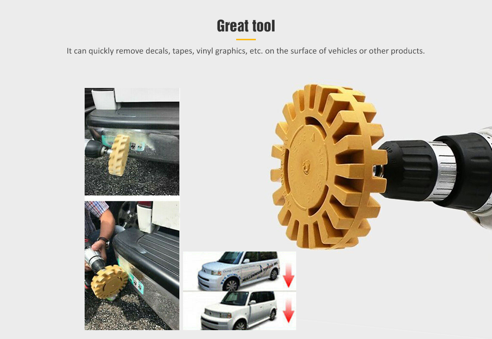 Pneumatic Degumming Rubber Grinding Wheel Car Tire Polishing Tool- Bee Yellow