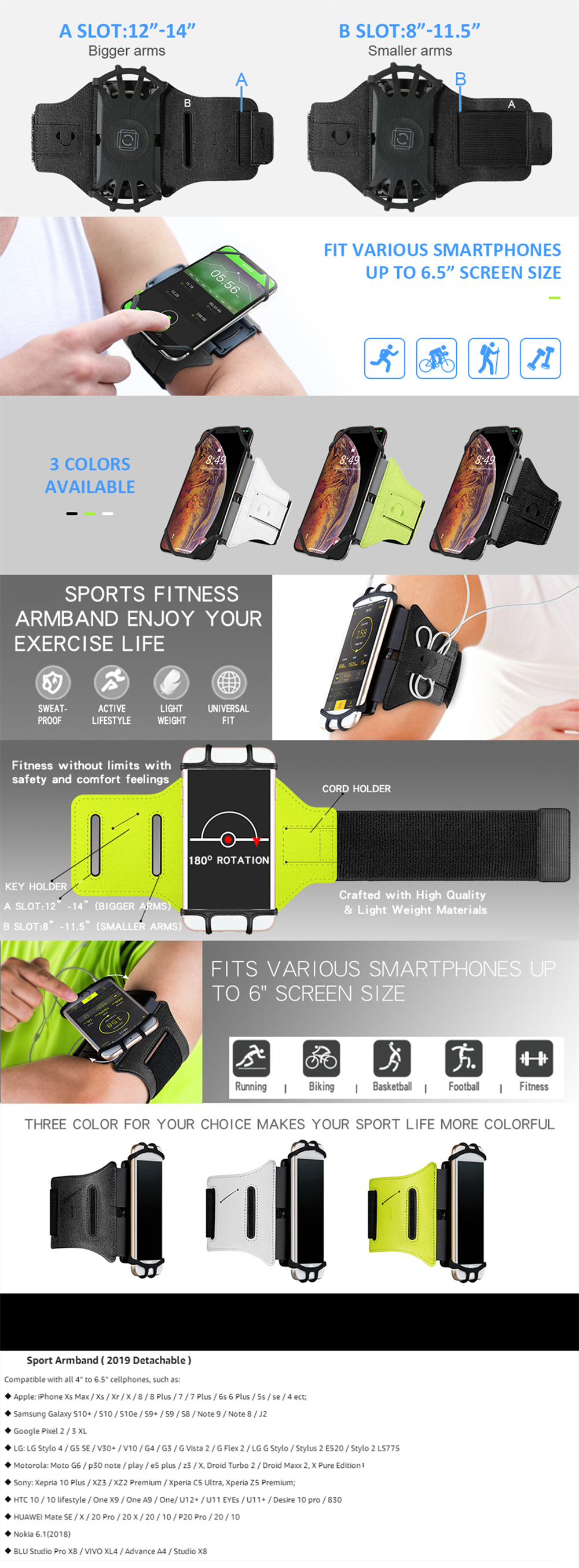 180 Degrees Rotatable Running Phone Armband with Key Holder for iPhone XS Max XR X 8 7 6 6S Plus for Sports Workout Exercise Jogging- Chartreuse