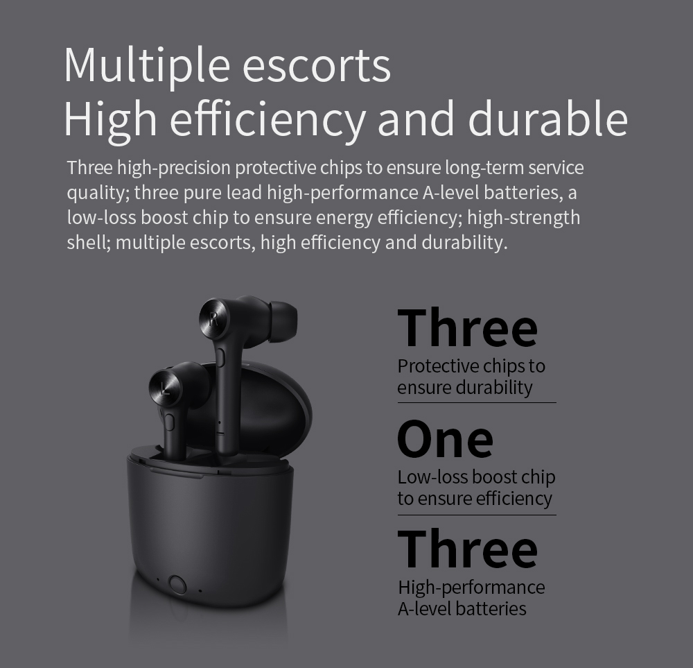 Bluedio Hi TWS In-ear Wireless Sports Bluetooth Earphone 5.0 Stereo Sound with Charging Box - Black