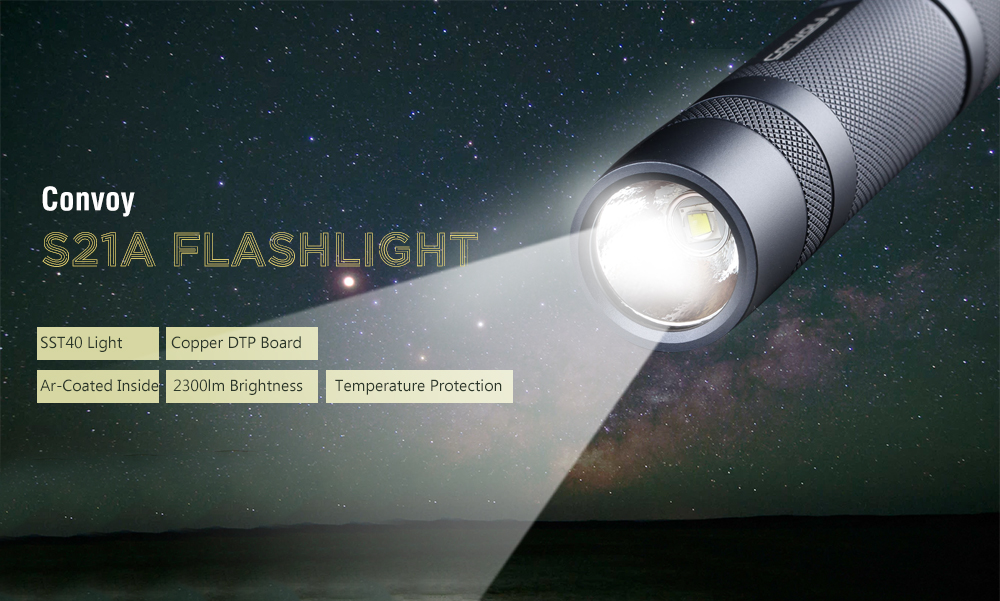 Gearbest Convoy S21A Flashlight SST40 Copper DTP Board Ar-Coated 2300 lm - Gray