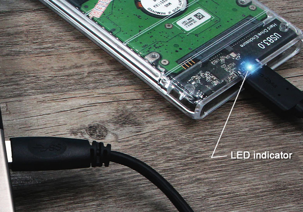 Transparent 2.5 Inch HDD SSD Enclosure SATA to USB 3.0 5Gbps Support 2TB UASP Protocol- Transparent