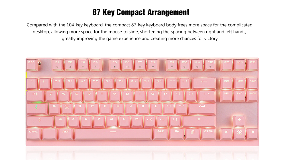 Motospeed GK82 87 Key Wireless 2.4GHz / Wired Dual Mode Mechanical Keyboard Type-C Interface / Monochrome Backlight / All Key Anti-Ghosting- Flamingo Pink Blue Switch