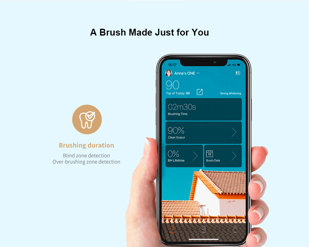 Oclean X Smart Sonic Electric Toothbrush Color Touch Screen International Version from Xiaomi youpin - White with 1 brush head