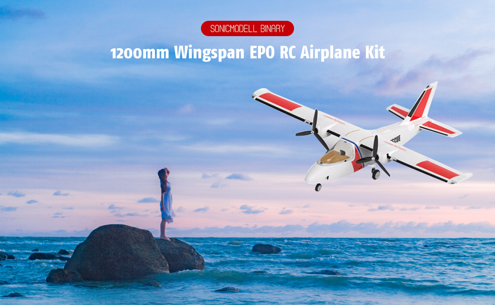 SONICMODELL Binary 1200mm Wingspan EPO RC Airplane with Twin Motor - White