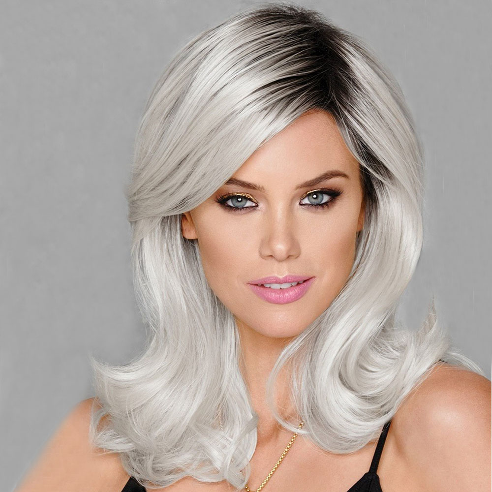 Partial Distribution Type Gradient Ramp Long Wig- Light Gray