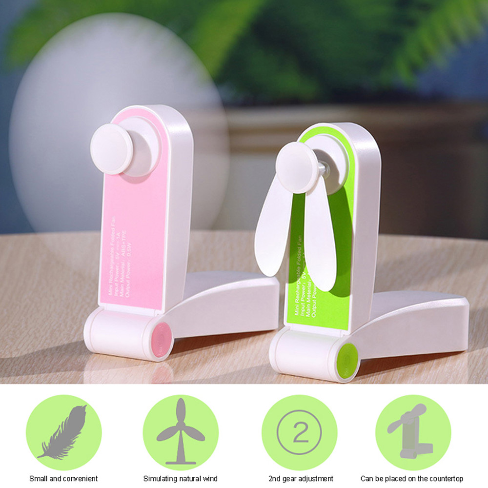 USB Mini Folding Charging Small Portable Hand-Held Fan- Pink