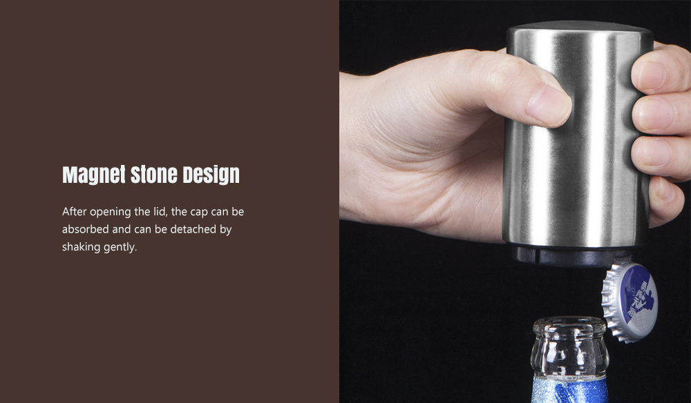 Stainless Steel Automatic Magnet Cylindrical Beer Bottle Opener for Bar KTV Party- Silver