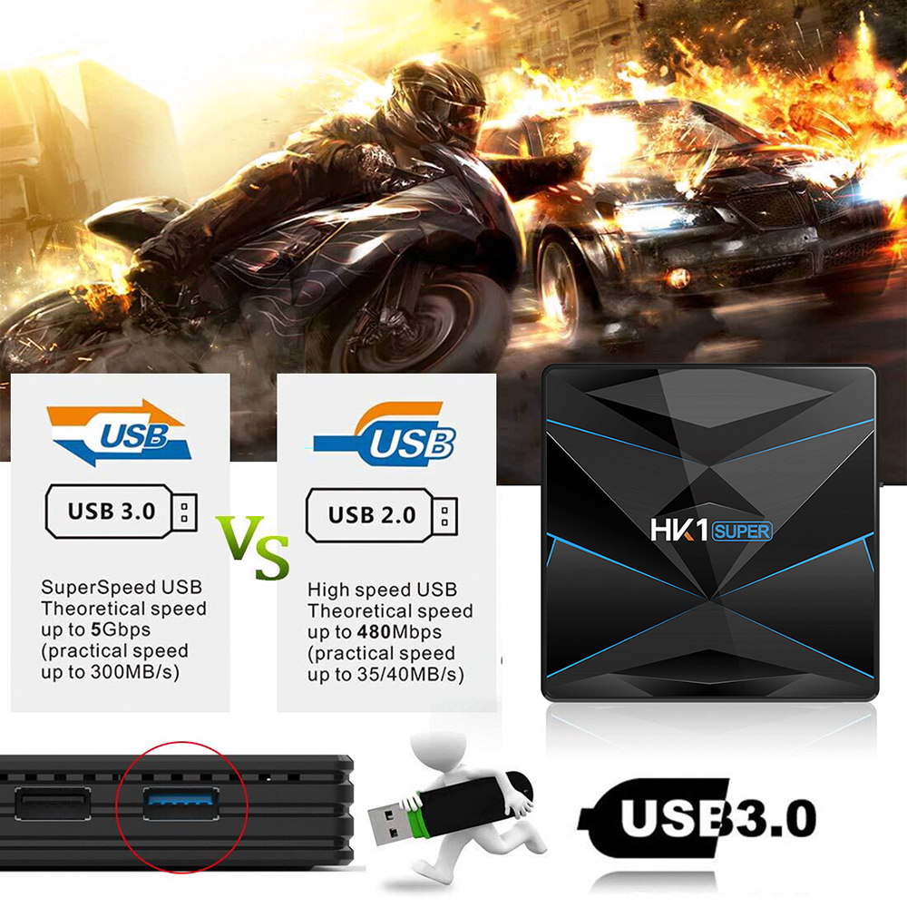 HK1 Super TV Box Android 9.0 RK3318 / 2.4G + 5G WiFi / 100Mbps / BT4.0 / USB3.0 / 4K VP9- Black 4GB RAM+64GB ROM UK Plug