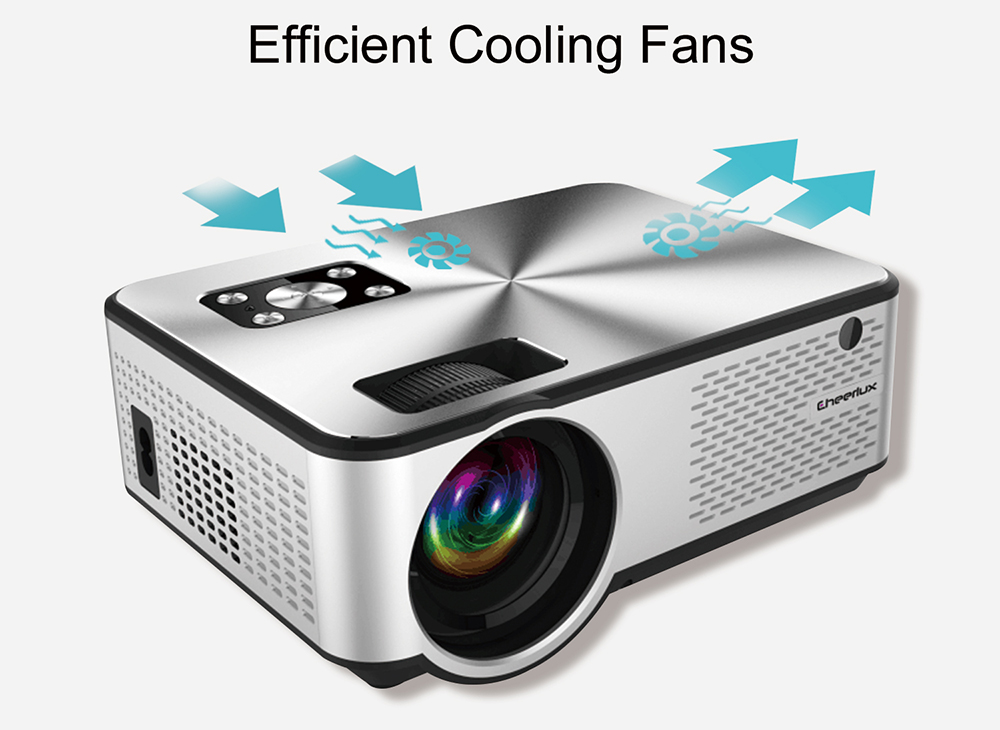 Cheerlux C9 LCD Projector Home Entertainment Commercial 1280 x 720P Support 1080P / HDMI + USB + VGA + AV - White EU Plug