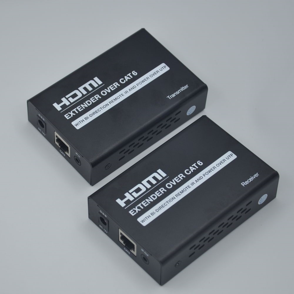60M 1080P HDMI Extender over Cat6/7- Black US Plug Pack of  2
