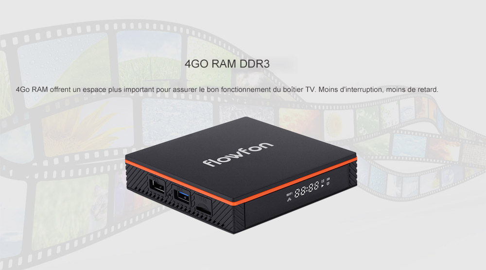 Flowfon F1 Smart TV Box Android 9.0- Noir PRISE EU
