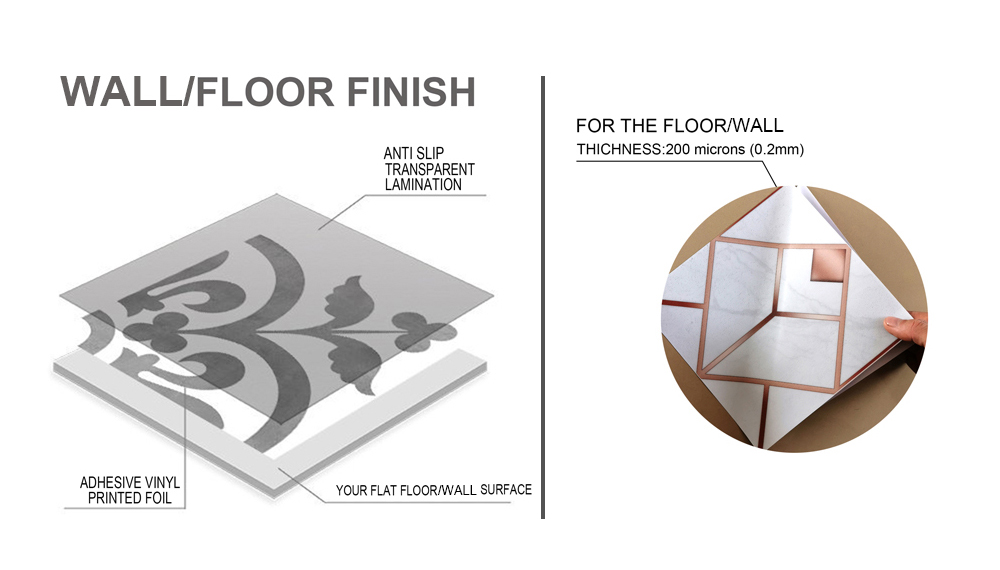 Golden Textured Marble Tile Decoration Waterproof PVC Wall and Floor  Stickers