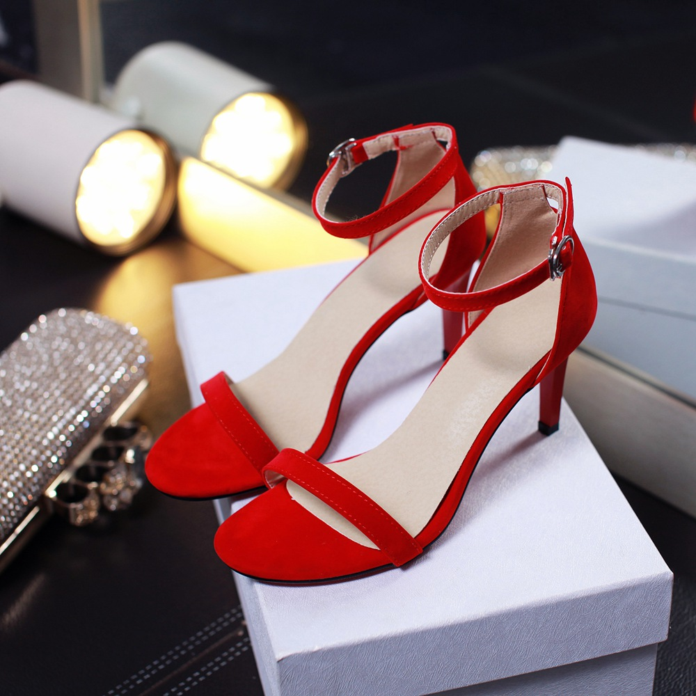 New Toe Napped Leather Buckle Strap Stilettos Heels Lady Sandals- Red EU 34