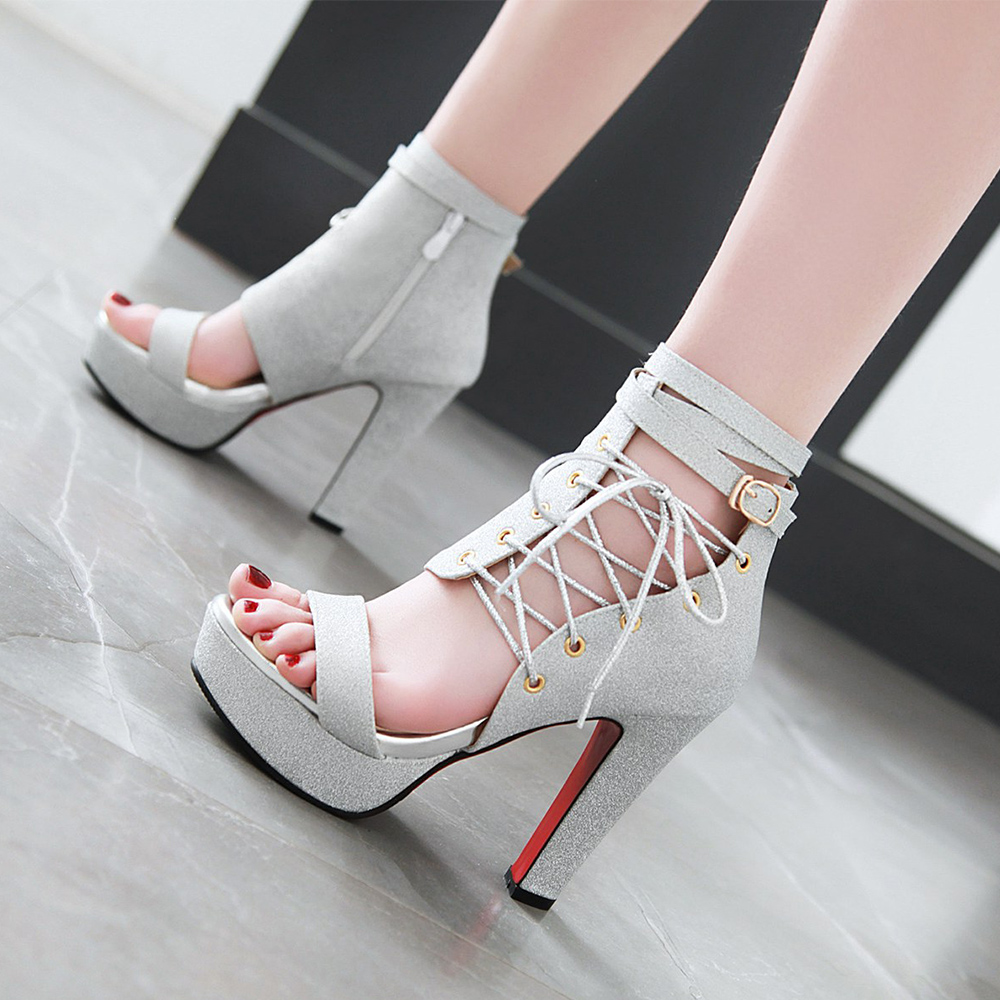 New Fashion Glitter lace Up Buckle Strap Chunky Heels Lady Sandals- Silver EU 34