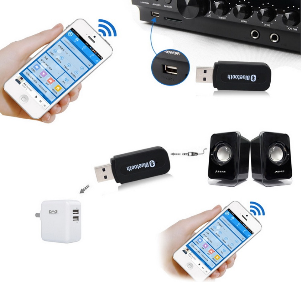 Bluetooth Receiver 3.5MM Music Audio Receiver Wireless USB Adapter- Black