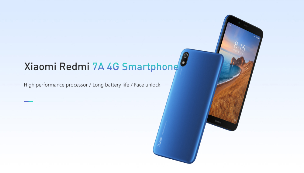 Xiaomi Redmi 7A 4G Smartphone 5.45 inch Android 9.0 Snapdragon SDM439 Octa Core 2GB RAM 16GB ROM 13MP Rear Camera 4000mAh Battery- Blue