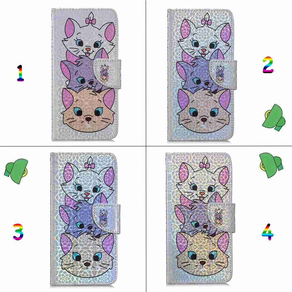 Three Cats Laser Colorful Phone Case for Samsung Galaxy A750 / A7 2018- Multi