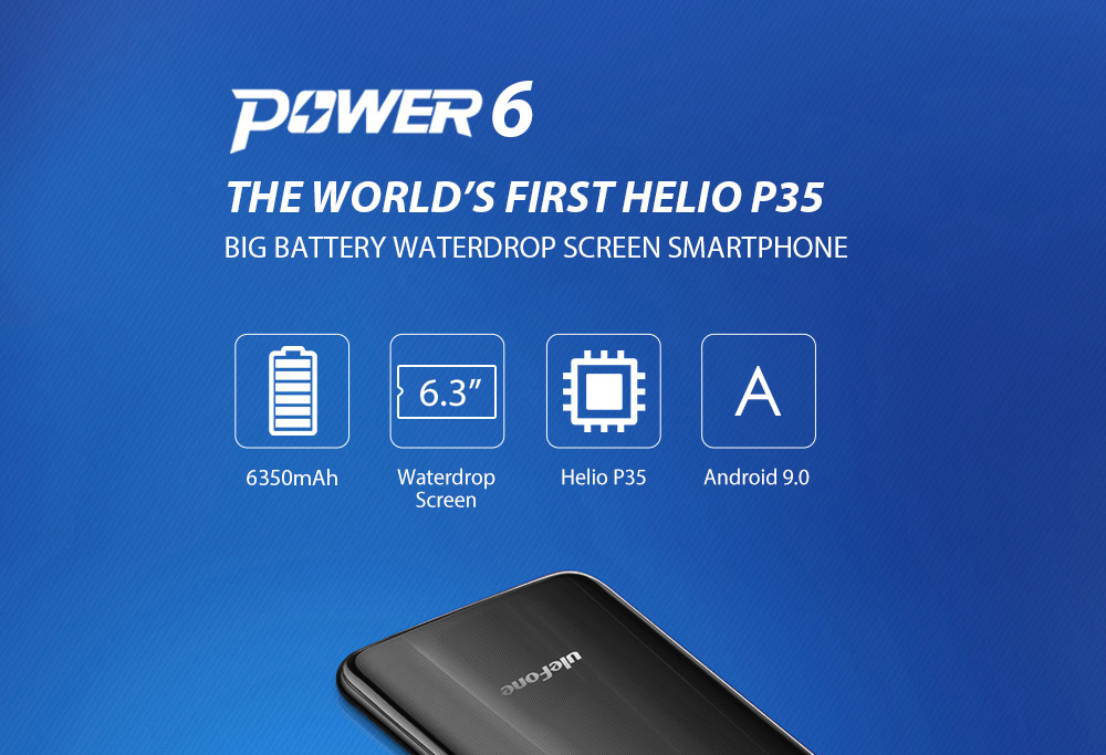 Ulefone Power 6 4G Phablet 6.3 inch Android 9.0 Helio P35 Octa Core 2.3GHz 4GB RAM 64GB ROM 16.0MP + 2.0MP Rear Camera 6350mAh Battery- Blue Other Area