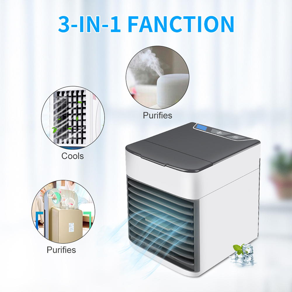 USB Mini Portable Air Conditioner Cooler Humidifier Purifier LED Light USB Fan- White 1pc