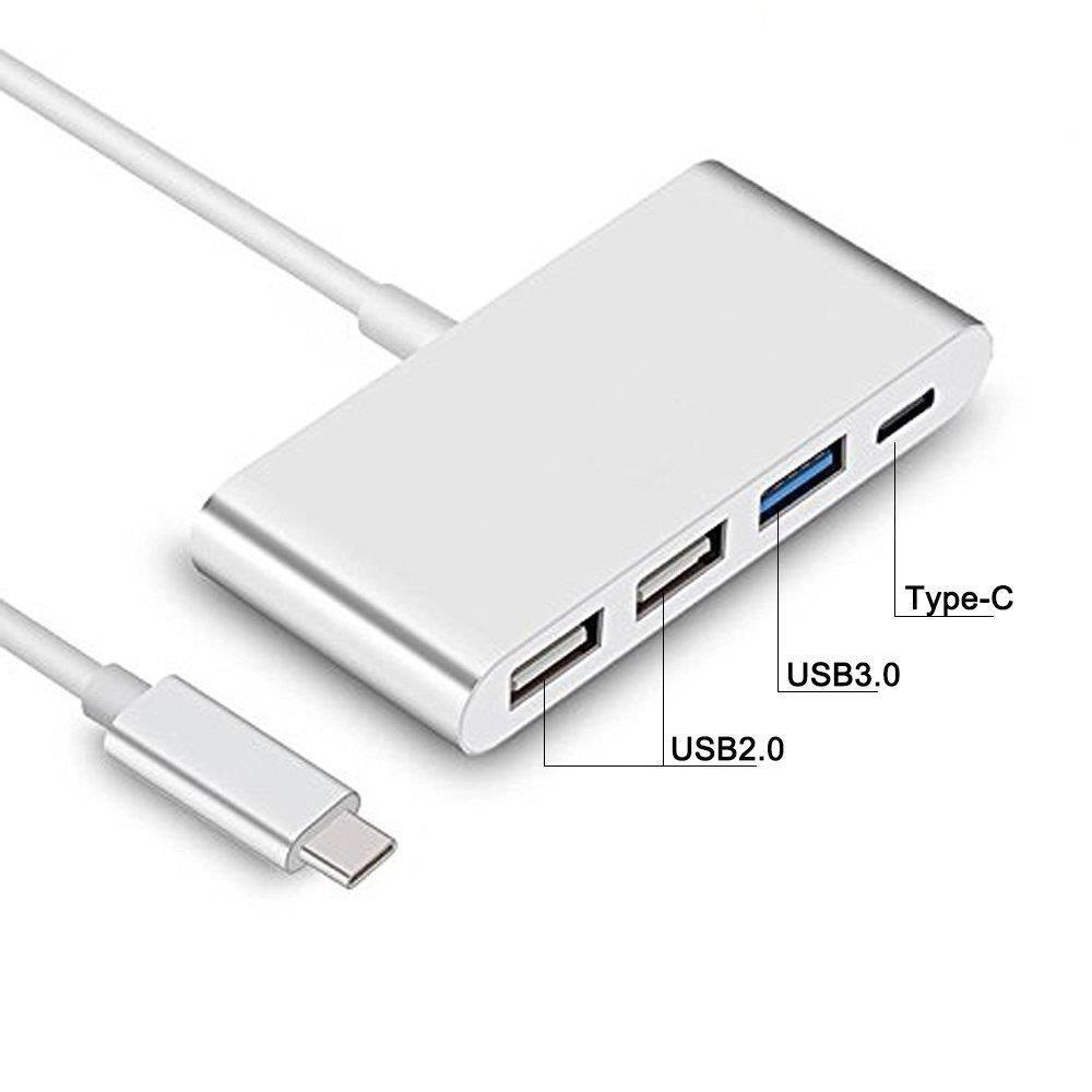 4-IN-1 USB-C Hub with Type C/USB 3.0/USB 2.0 Ports Multi-Port Charging Adapter- Silver