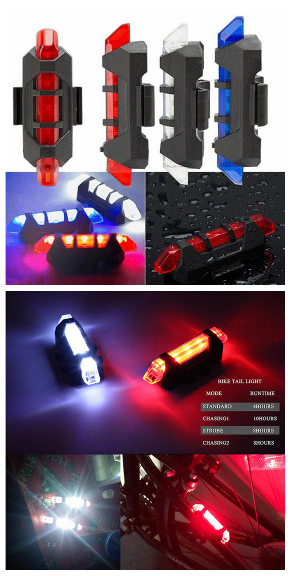 ZHISHUNJIA ZSJ-216 USB Charging Mini Warning Light Bicycle Taillight 2PCS- Blue