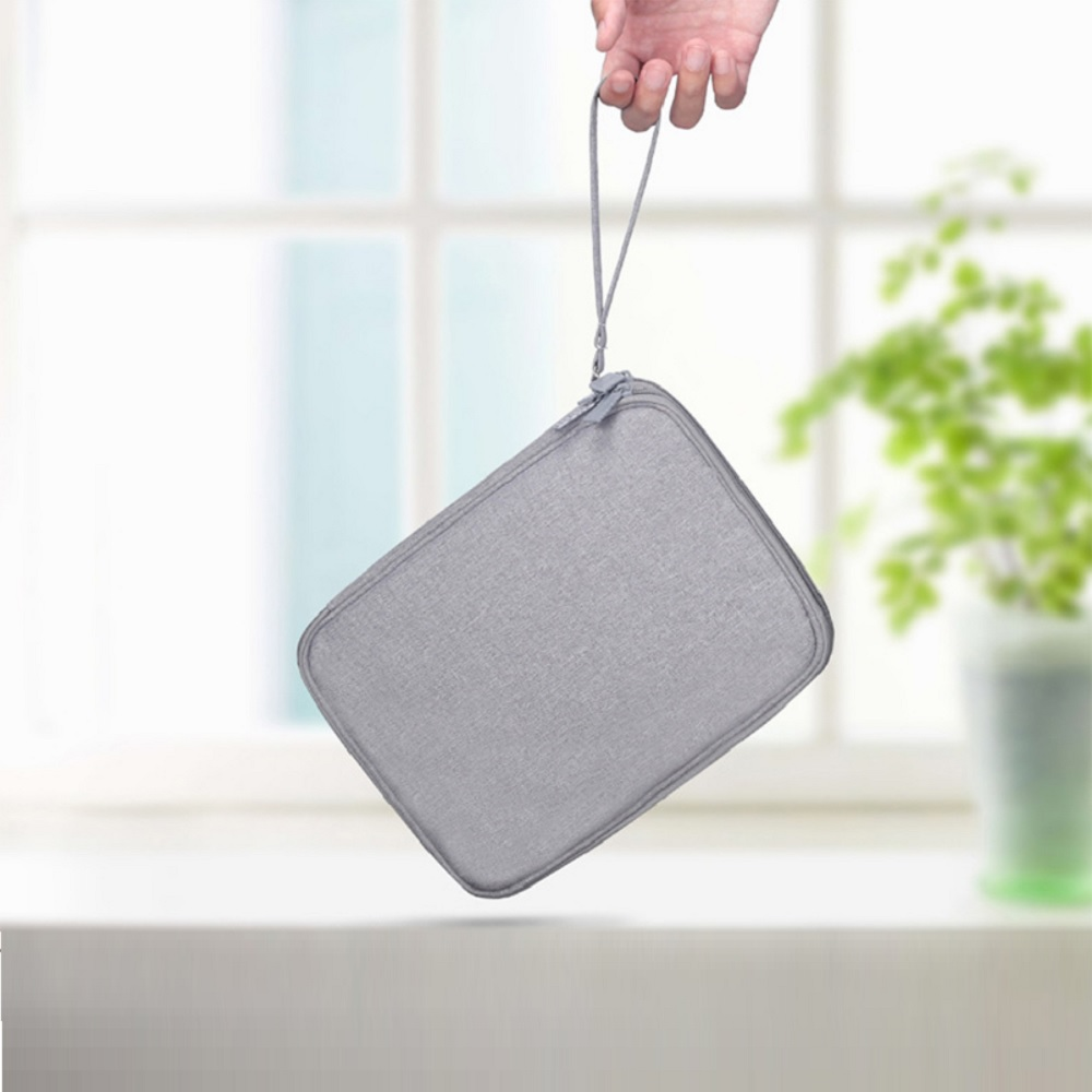 Multi-Function Travel Digital Data Cable Storage Bag 3C Accessories Pouch- Light Gray L