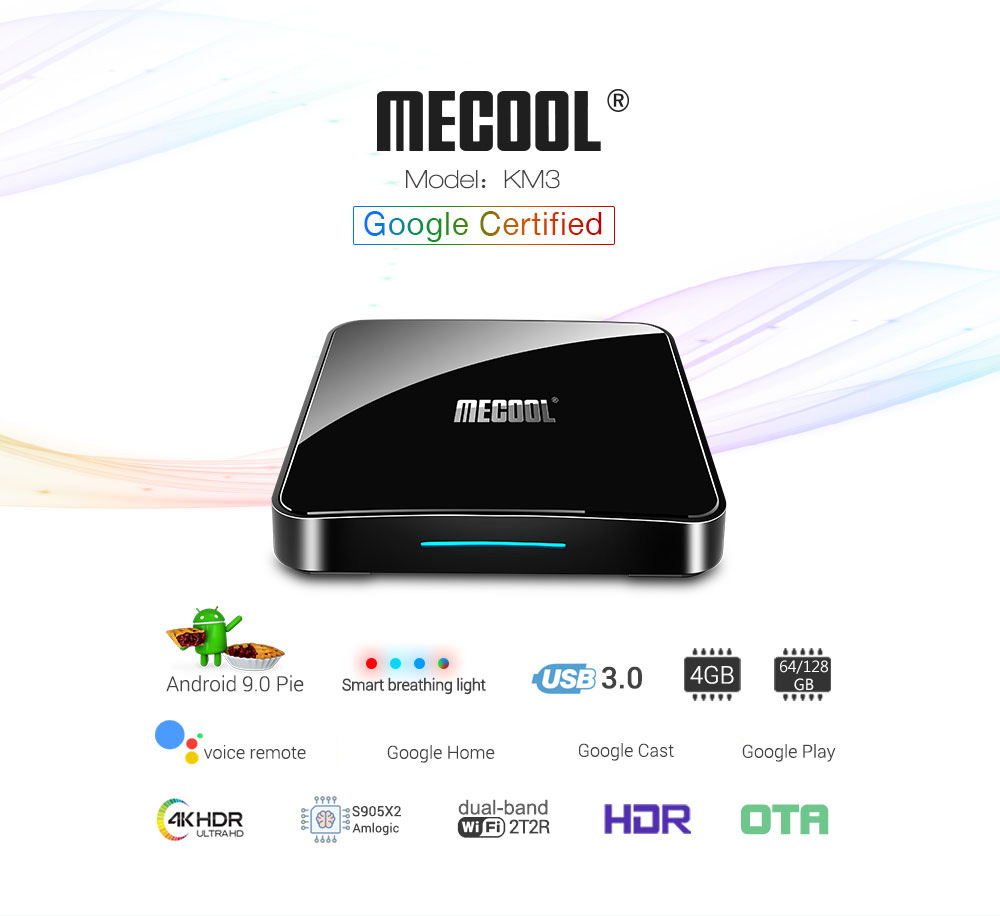 MECOOL KM3 Android 9 0 Voice Control TV Box Google Certification