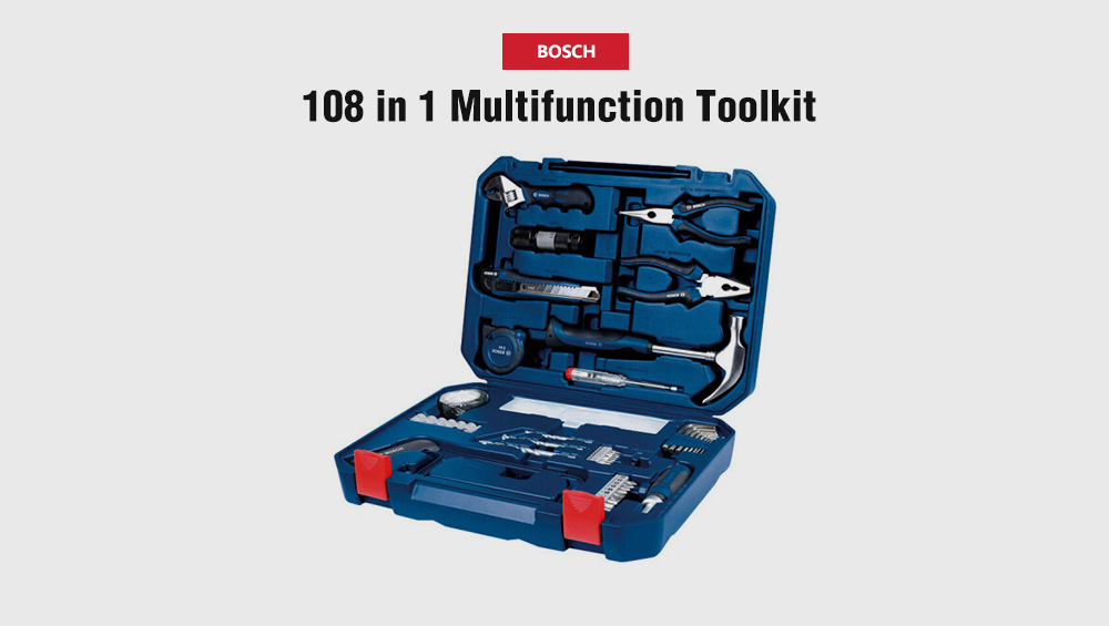BOSCH 108 in 1 Home Multifunctional Toolkit Hand Tool Set- Navy Blue