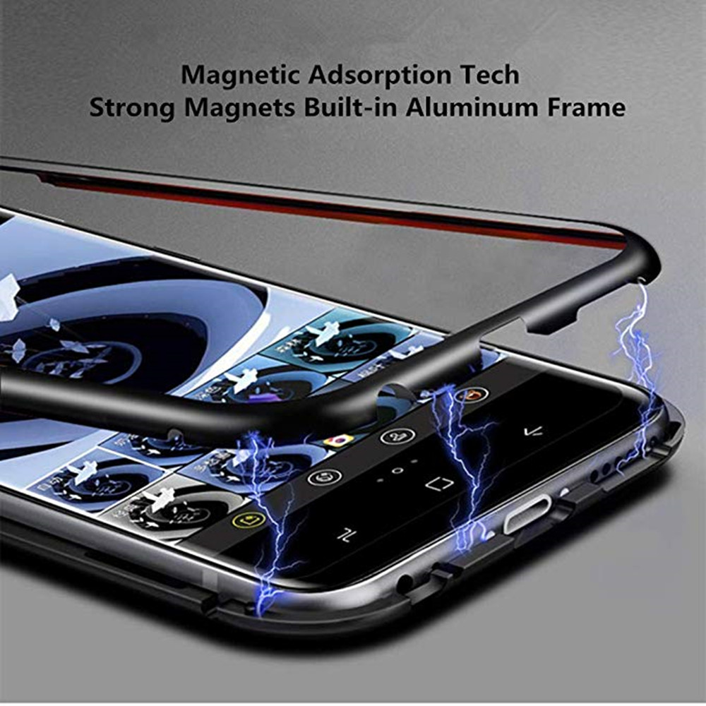 Magnetic Luxury Clear Tempered Glass Flip Phone Case for Samsung Galaxy A40- Black