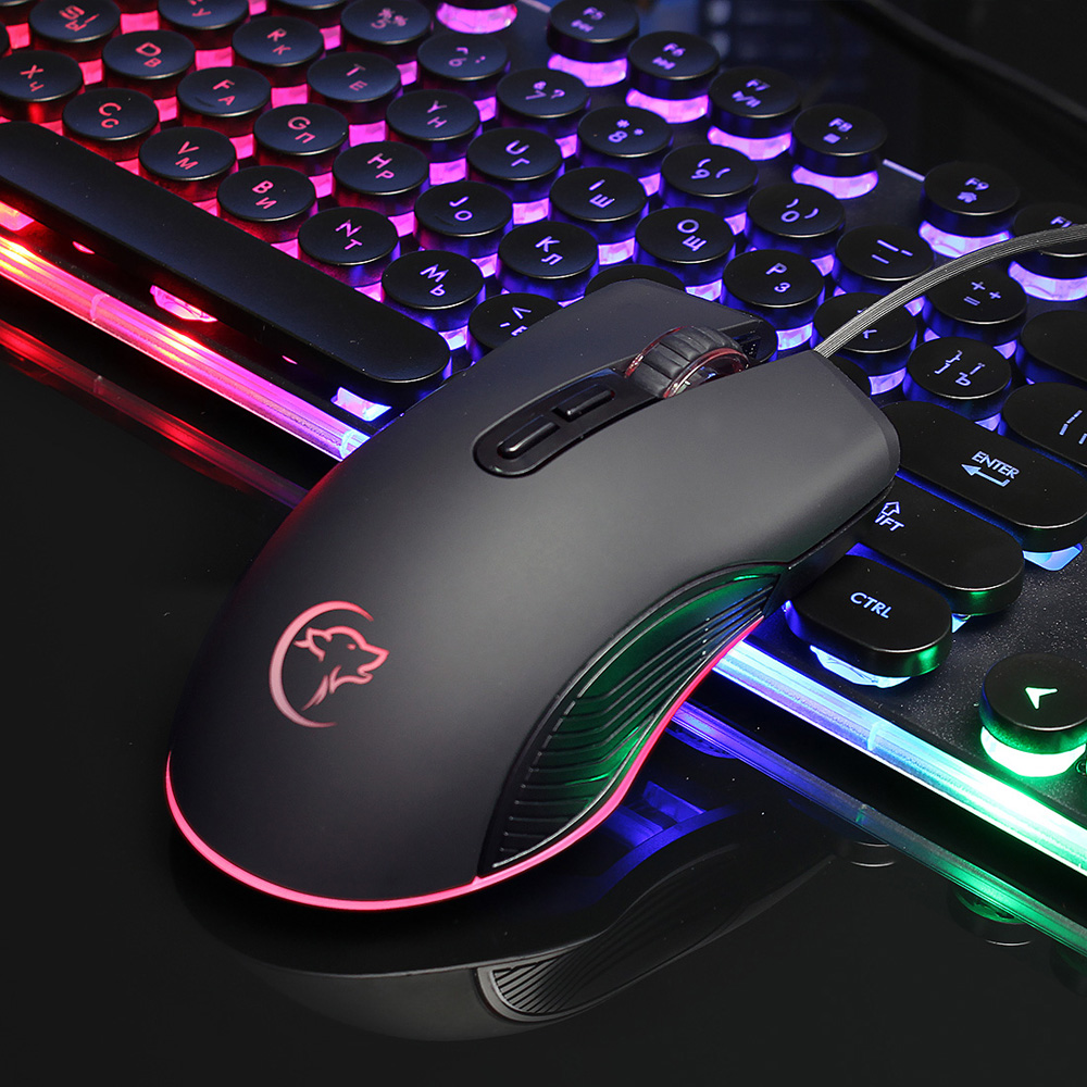 YWYT G830 4-color Luminous Wired Gaming Mouse- Black USB Port