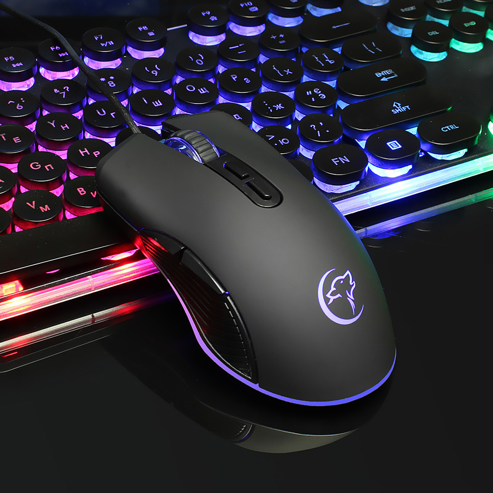 YWYT  4-color Luminous Wired Gaming Mouse- Black USB Port