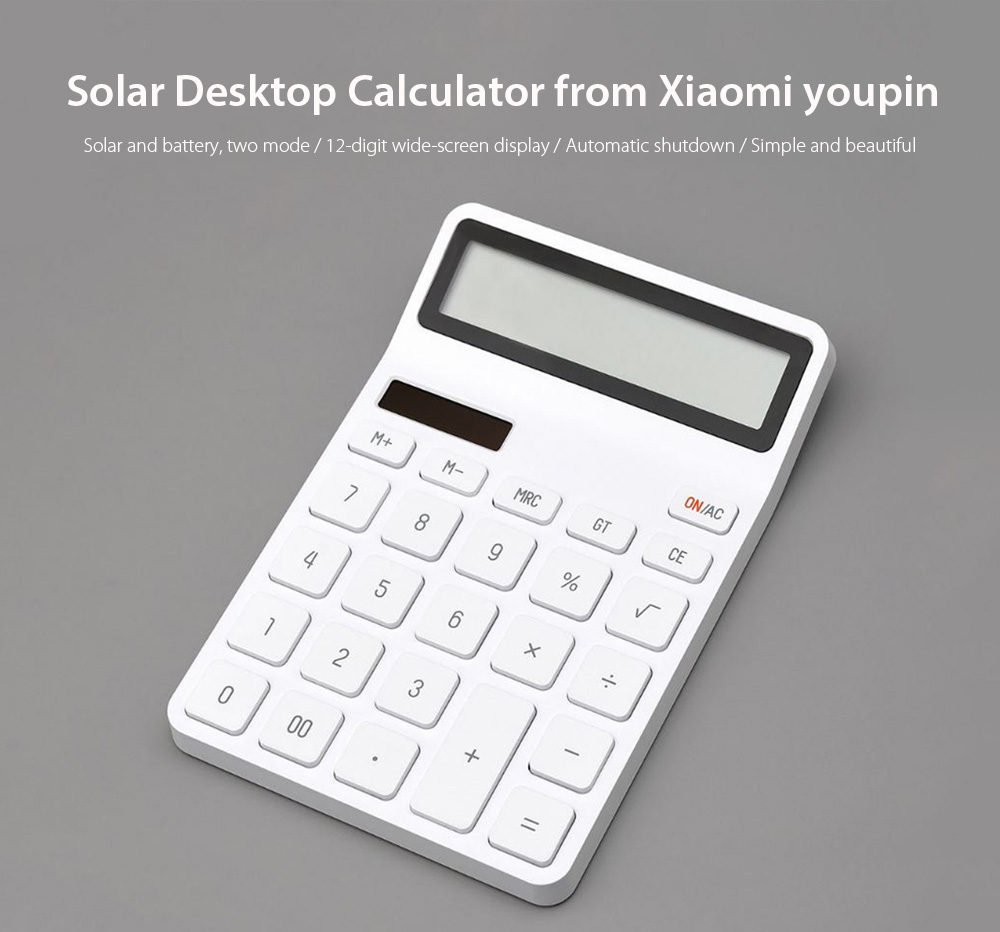 LEMO K1410 12-digit Widescreen Display / Automatic Shutdown / Dual Power Desktop Calculator from Xaiomi youpin- White