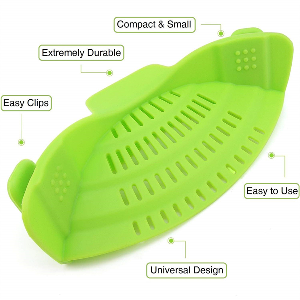 Kitchen Gizmo Snap Strainer Clip On Silicone Colander Fits all Pots and Bowls- Red