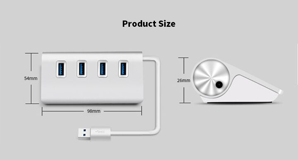 4 Port High Speed Aluminum Alloy USB 3.0 Hub- Silver
