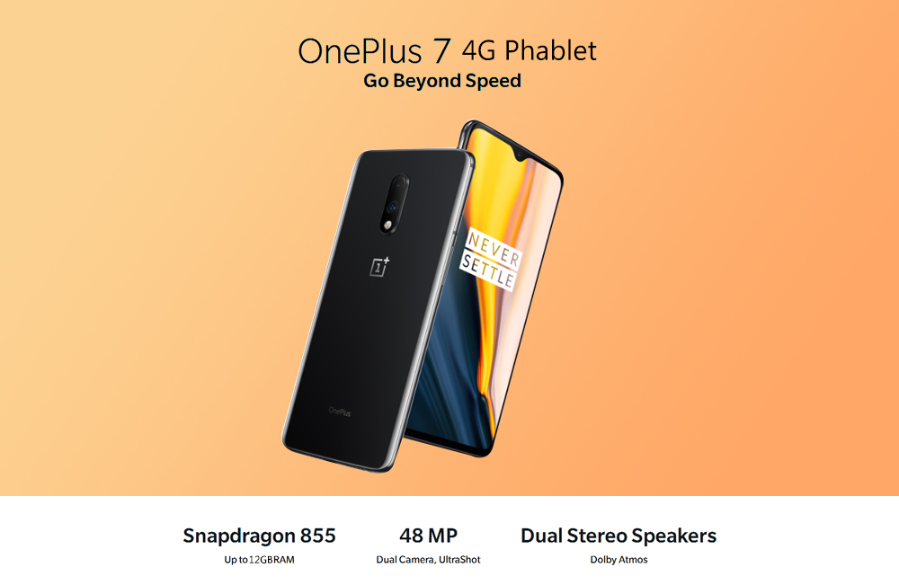 OnePlus 7 4G Phablet 6.41 inch Oxygen OS Snapdragon 855 Octa Core 12GB RAM 256GB ROM 48MP Rear Camera 3700mAh Battery International Version- Gray