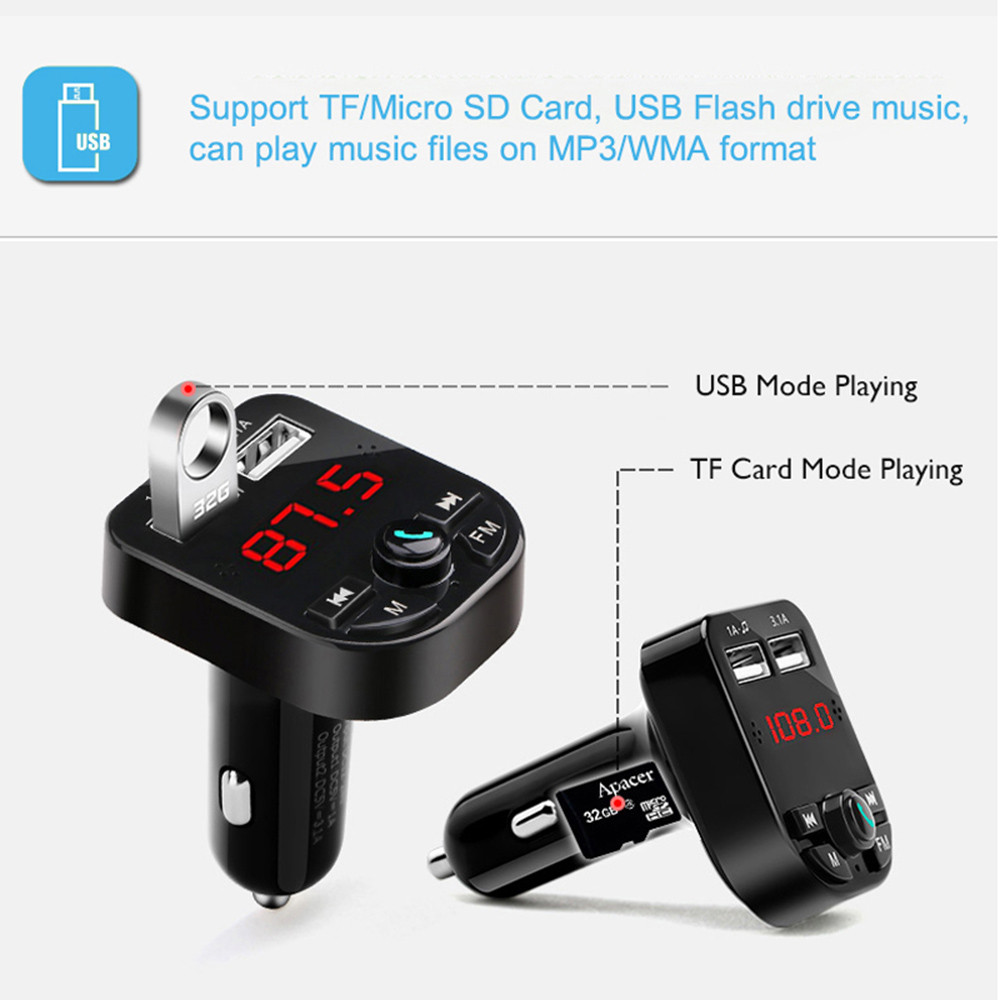 Car Charger for Mobile Phone Handsfree FM Transmitter Bluetooth- Black