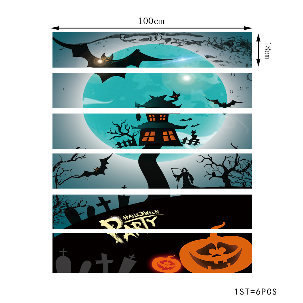 Halloween Simulation Staircase Fashionable Staircase Decorative Wall Sticker- Multi-G