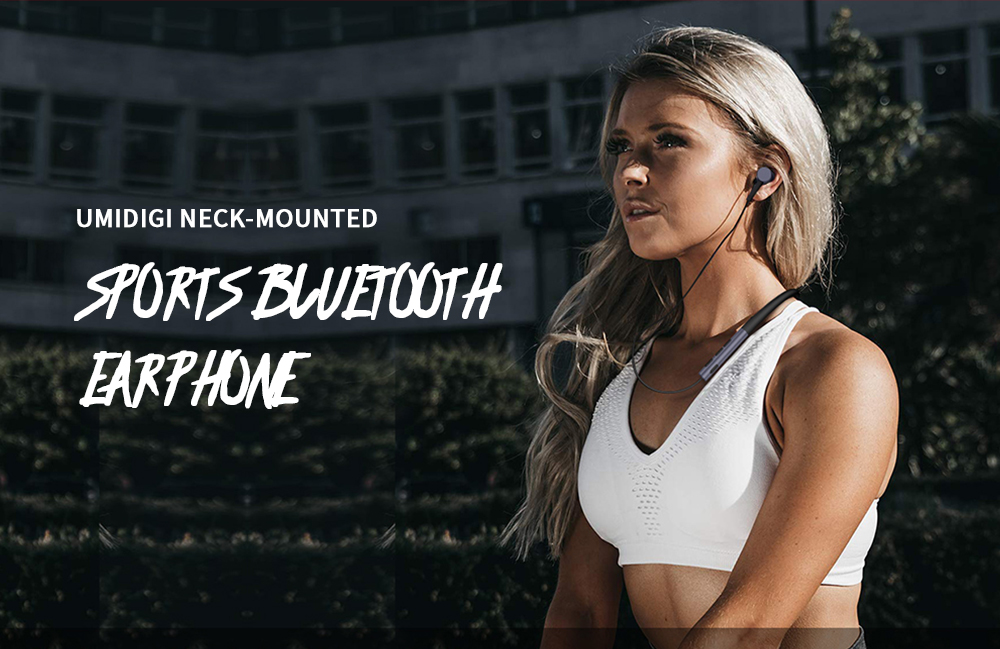 UMIDIGI Ubeats Surround Sound Effect / Noise Canceling / Comfortable Wearing Neck-mounted Sports Bluetooth Earphone - Black