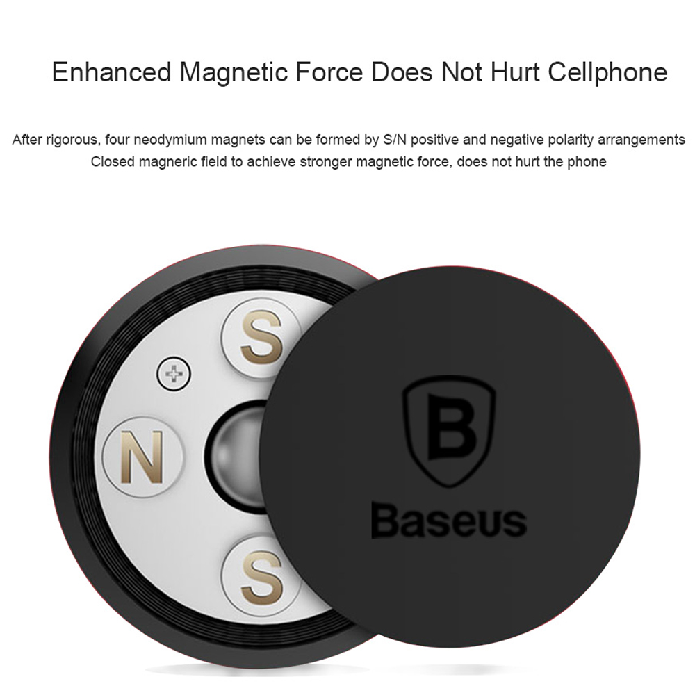 Baseus 360-DEGREE Stick-On Magnetic Car Phone Holder for Mobile Phone- Gray Goose