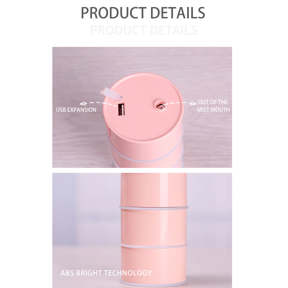 Portable New Exotic Oil Drum Air Humidifier Mini Three-In-One Desktop USB- Pink